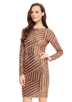 BCBGMAXAZRIA Long Sleeve Sequin Dress
