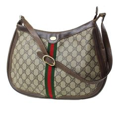 Gucci Roomy Top Zip Accessory Col High-end Bohemian Mint Vintage Perfect Everyday Hobo Bag Vintage Gucci Purse, Vintage Purses, Gucci Handbags Outlet, Black Gucci Belt, Dior Purses, Gucci Crossbody Bag, Hobo Style, Brown Purses, Green Stripes
