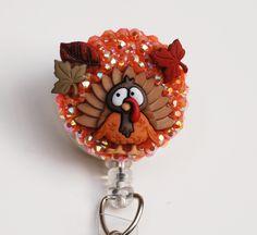 Retractable id badge holder stethoscope nurse by spalos on etsy thanksgiving turkey id badge reel retractable id badge holder zipperedheart solutioingenieria Gallery