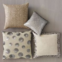 Mix of pillows- my favorite thing to shop for! I want my bedroom to look like an underwater heaven... Soft sparkly and interesting