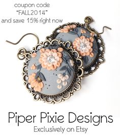 Polymer Embroidery Earrings for Fall www.piperpixiedesigns.etsy.com Exclusive handmade polymer clay designs