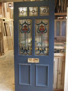 Art Nouveau stained glass door front door with mail slot! but the kind that bas the catch on the back side House Front Door, Glass Front Door, Glass Doors, Doors With Glass Panels, Stained Glass Door, Leaded Glass, Victorian Stained Glass Panels, Stained Front Door, Front Door Design