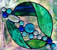 Abstract 'SEA JEWEL' Suncatcher Handmade Stained Glass CHRISTMAS Leadlight Gifts $39