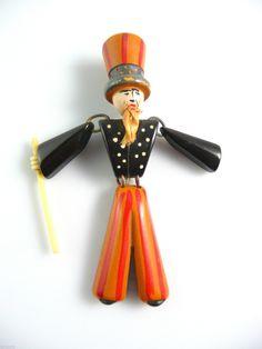 RARE Vintage 1930s 40s Patriotic Uncle Sam Carved Painted Bakelite Brooch Pin | eBay