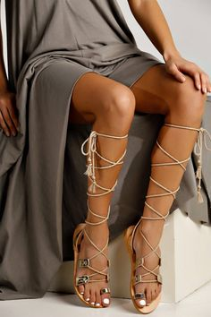 """Unique gladiator sandals """"Calanthe"""". Perfect to complete your outfit with a maxi dress. Designed and handmade greek sandals."""