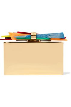 EDIE PARKER Wolf gold-plated and acrylic box clutch