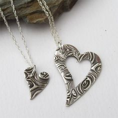 Mom And Daughter Necklace Set, Piece Of My Heart, Mother Daughter Jewelry by EarthshineDesigns1 on Etsy https://www.etsy.com/listing/245635628/mom-and-daughter-necklace-set-piece-of