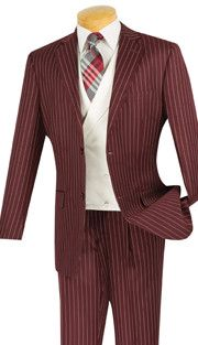 3pc Single Breasted, Two Buttons, With White Vest, Side Vents, Single Pleated Pants, Vinci Mens Suit