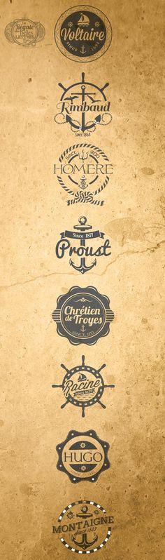 #vintage #logo #navy #philosophes Logo d'équipages aux noms célèbres