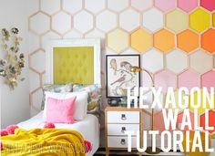 Ombre Rainbow Hexagon Wall Tutorial