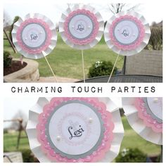 Set of 3 pink silver and ivory custom by CharmingTouchParties, $18.00