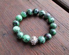 Ruby Zoisite & Sterling Silver Bracelet Bead by amariesshop