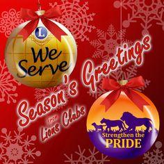 Season's Greetings from Lions Clubs! Lions International Logo, Club International, Lion Icon, Christmas Bulbs, Merry Christmas, Lion Poster, Fundraising, North Augusta, Seasons