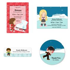 Cute #iceskating #winter #birthday #kids #partyset #invitations #labels #stickers   Check more designs at www.zazzle.com/celebrationideas