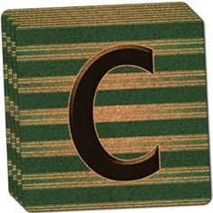 "Amazon.com: Custom & Cool {4"" Inches} Set Pack of 4 Square ""Grip Texture"" Drink Cup Coaster Made of Cork w/ Cork Bottom & Striped Pattern Classic Letter C Initial Design [Teal, Brown & Black Colors]: Home & Kitchen"