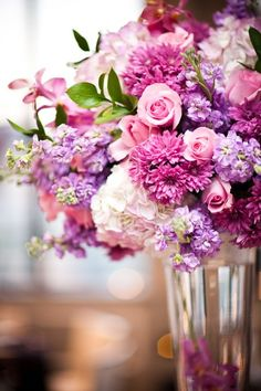 Modern Ivory Pink Purple White Centerpiece Spring Wedding Flowers Photos & Pictures - WeddingWire.com
