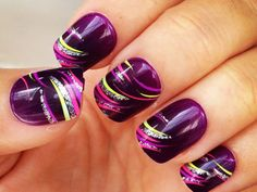 Nail Art - Deep Purple, yellow, pink, coral, silver