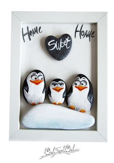 Unique Handmade 3-D Painting with Family Penguins  | An Original Artwork Made with Painted Pebbles and a Marble Heart by owlsweetowl on Etsy https://www.etsy.com/listing/449411360/unique-handmade-3-d-painting-with-family