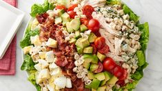 Cobb salad into a delicious pasta salad! All the classic ingredients are here: chicken, bacon, blue cheese, hard-cooked eggs and more—all tossed together with a zingy dressing 25 minutes 16 servings Best Pasta Salad, Pasta Salad Recipes, How To Cook Eggs, How To Cook Pasta, Quinoa, Salads Up, Summer Salads, The Fresh, Summer Recipes