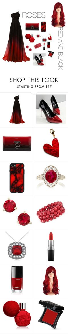 """Red and black mixed rose"" by asma-luthfy ❤ liked on Polyvore featuring Christian Louboutin, Edie Parker, Casetify, Martin Katz, Kate Spade, Ross-Simons, Allurez, MAC Cosmetics, Chanel and Illamasqua"