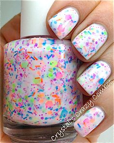 Welcome to Polish Me Silly! We are a mother / daughter team who love to create polish! Soooo glad to be back selling on etsy with our NEW name! We are offering you the same polish creations with the same quality ingredients that we are soooo well known for! Thanks for your continued support! :o)   ♥ Haywire is wild, flirty, funky and fun!! It has a milky white opaque base. (the white base in this polish takes on a faint pink hue in the pictures here and in the bottle, but the base goes on…