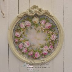 Wreath of Gustavian Roses by Helen Flont Victorian Flowers, Vintage Flowers, Rose Shabby Chic, Romantic Living Room, Deco Paint, Feminine Decor, Decoupage, Coming Up Roses, Floral Garland