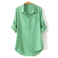 Pure Color Linen Long Sleeve Shirt ($17) ❤ liked on Polyvore featuring tops, green shirt, green linen shirt, shirts & tops, long sleeve tops и longsleeve shirt