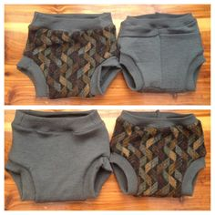 Reversible merino wool soakers. Solid gray on one side, charcoal gray with gray, tan, blue pattern on other side.  Www.jamnee.etsy.com