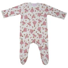 Lovely pink Ballerina print Romper/Sleepsuit with closed in feet and white trims. 100% cotton. 0 - 6 months