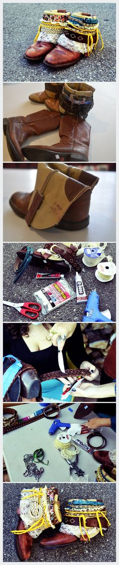 DIY boho belted boots tutorial