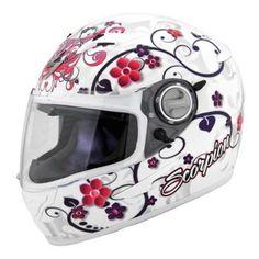 Scorpion Dahlia 2 On-Road Motorcycle Helmet - White / Small. Scorpion Dahlia 2 On-Road Helmet. Full Face Motorcycle Helmets, Racing Helmets, Full Face Helmets, Motorcycle Outfit, Motocross Helmets, Bike Helmets, Biker Gear, Harley Bikes, Helmet Design