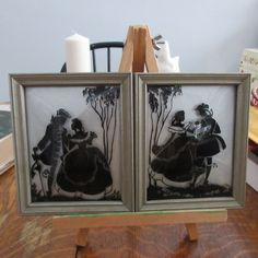 Vintage Silhouettes, Reverse Painting, Convex Glass, Art Deco, Shabby Chic Art