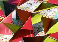 Bright color, triangle fold invite