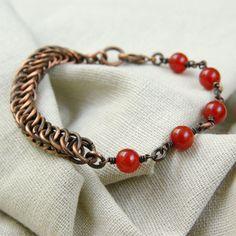 copper jewelry / slim bracelet / orange agate / gift idea by Verha, $29.00