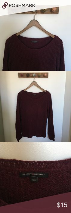Brandy Melville Maroon Sweater Brandy Melville Maroon sweater worn a few times. It's a one size only but it's an oversize sweater for me since I am typically a small. Very cute for the fall and winter! Brandy Melville Sweaters Crew & Scoop Necks