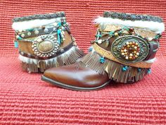 Upcycled, redesigned cowboy boots, festival boots, boho boots, gyspy boots, from InKaBoots on Etsy.