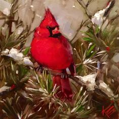 "Daily Paintworks - ""Christmas Cardinal"" - Original Fine Art for Sale - © Krista Eaton"