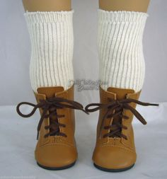 TAN 1800 BOOTS + THIGH HIGH SOCKS made for American Girl Kirsten Doll Clothes #Moniques