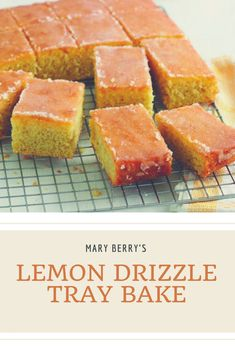 Treat yourself to Mary Berry's Lemon Drizzle Traybake - This delicious recipe from at the queen of baking will fast become a family favourite. British Bake Off Recipes, Great British Bake Off, Tray Bake Recipes, Dessert Recipes, Cake Recipes, Picnic Recipes, Banana Recipes, Lemon Recipes, Tea Recipes