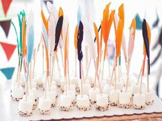 S'mores dipped marshmallows on feather sticks for an indian party. Indian Birthday Parties, Indian Party, First Birthday Parties, Birthday Party Themes, First Birthdays, Birthday Ideas, Birthday Appetizers, 31 Birthday, Brunch Appetizers