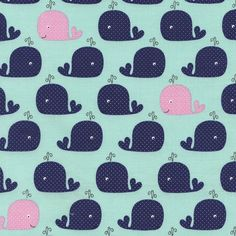 Fabric... Whales on mint by Timeless Treasures