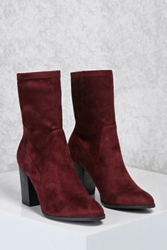 Faux Suede Sock Boots - wine color - perfect fall boots - Forever 21