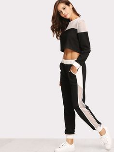 Shop Fishnet Insert Sweatshirt And Pants Set online. SheIn offers Fishnet Insert… Shop Fishnet Insert Sweatshirt And Pants Set online. SheIn offers Fishnet Insert Sweatshirt And Pants Set & more to fit your fashionable needs. Legging Outfits, Yoga Pants Outfit, Sporty Outfits, Sporty Style, Mode Outfits, Leggings Fashion, Fall Outfits, Fashion Outfits, Sporty Chic