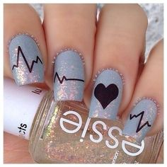 Purple Sparkle Heartbeat Nail Art || These are amazing and adorable! I love the color and the idea of the heartbeat going through each nail. :) love dat polish!!!