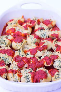 Vegan Stuffed Jumbo Shells with Spinach: Stuffed jumbo shells with cashew tofu ricotta and spinach.