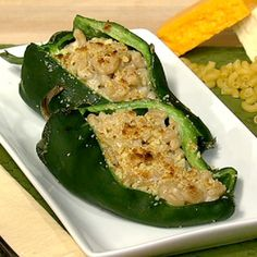 Mac n' Cheese Stuffed Poblanos Recipe by Daphne Oz - The Chew The Chew Recipes, Great Recipes, Cooking Recipes, Favorite Recipes, Healthy Recipes, Cheese Recipes, Meatless Recipes, Veggie Meals, Skillet Recipes