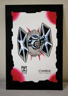 TIE Fighter Tattoo Flash - Color Study #1138