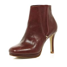 dark red square toe mid heel ankle boots - River Island