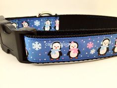 Christmas Dog Collar Blue Penguins1 inch wide by caninedesign