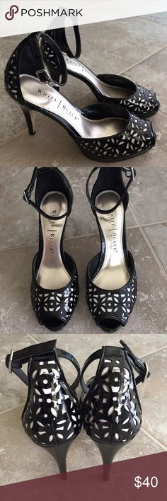 """White House Black Market classy ankle strap heels Very gently used White House Black Market classy ankle strap heels. Worn once - minimal signs of wear. Heel height is 4"""". Size 7 White House Black Market Shoes Heels"""